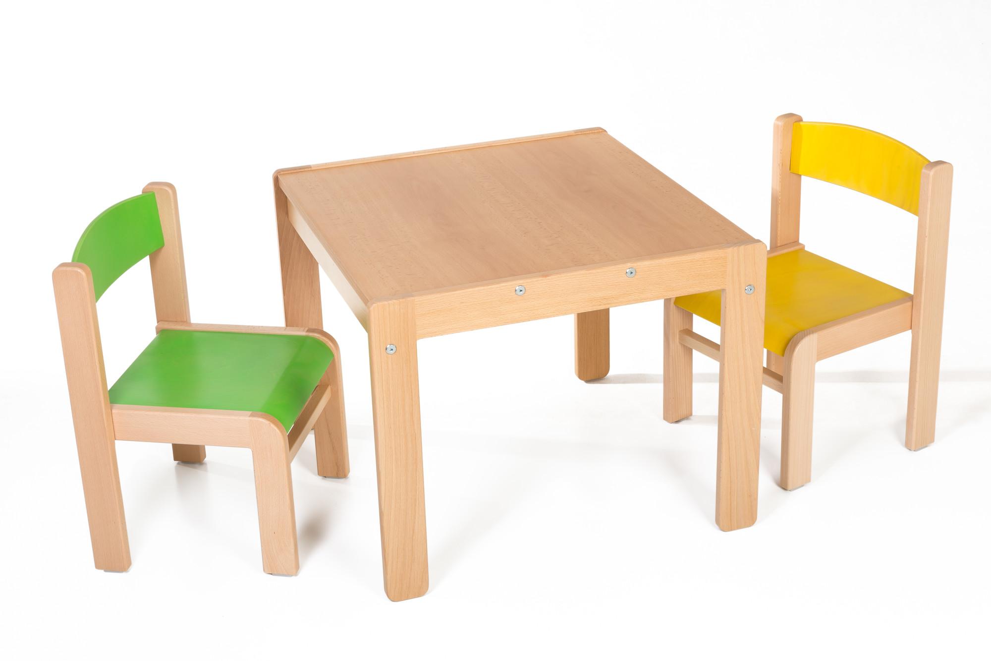 Hajdalánek Dětský stolek Lucas + židličky Luca (žlutá, zelená)