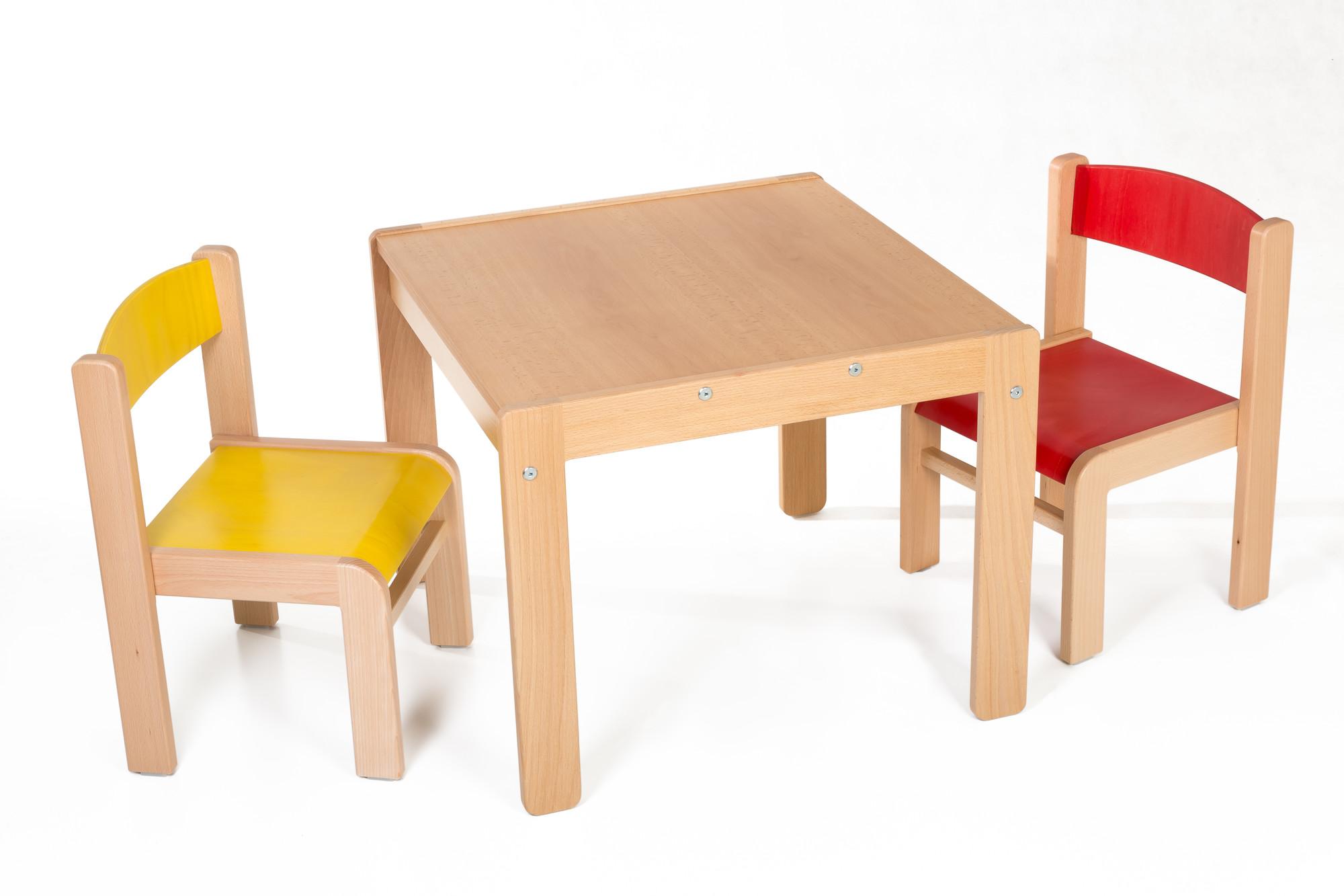 Hajdalánek Dětský stolek Lucas + židličky Luca (červená, žlutá)
